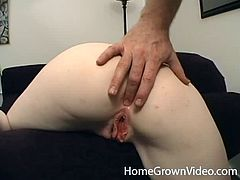 Kinky blonde girl lies on a sofa getting face fucked. Later on she spreads her legs and gets fucked deep in her vagina. She also gets her face cum covered.