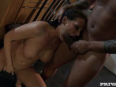 And that's the way her sexy mouth gets a huge cock! Milf is drunk and that huge black cock in the kitchen is what she wants now!