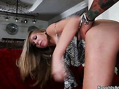 Brynn Tyler with big breasts and trimmed twat offers her love tunnel to Dale Dabone