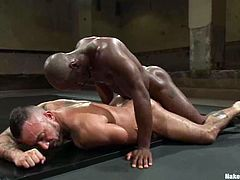 Alessio Romero and Race Cooper are having a scuffle on tatami. They wrestle with each other and then the black stud destroys the loser's ass with his mighty rod.