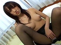 In this great scene we see a hot Japanese babe get her pussy rubbed until it is wet, then take a large cock deep inside.