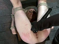 Stunning blonde girl gets tied to a chair. Then the master spanks her ass painfully. In addition he toys her pussy with a dildo and a vibrator.