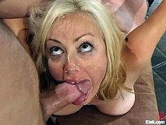 Sexy blonde Adrianna Nicole is having fun with Van Damage indoors. Van binds and tortures Adrianna and then pleases her with fisting before ripping her snatch apart with his dick.