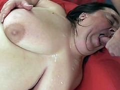 Be ready for disgusting sex tube video featuring hot and insatiable bbw who swallows cock and polishes balls with her playful tongue.