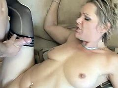 Blonde chick in stockings lies on a sofa. She gets her pussy fingered and then she gives a blowjob to her man. Later on she gets fucked hard and deep.