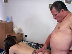 Teen Elena receives huge dick up her shaved ass hole from horny old male