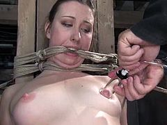 Nasty girl Alyssa is finally getting her punishment. She gets bound and hang up by some dude and then moans loudly while having a dildo in her cunt.