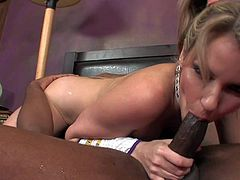 Young blonde bimbo Courtney Cummz with provocative hairstyle and smoking hot body in slutty cheerleader uniform teases tall black dude Tyler Knight and takes on his cannon with great lust.