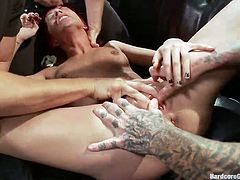 Sexy redhead Jean finally found a few guys that are about to fuck her how she deserve. They throw the slut on the couch, rip off her clothes and grab her neck and legs. The guys then spread her thighs and finger her pussy roughly. Let's see how hard will they slap and fuck this slutty redhead!
