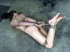 The brunette Lena Ramon is going to be dominated today, tied up, tortured a little bit and toyed in this bondage session.