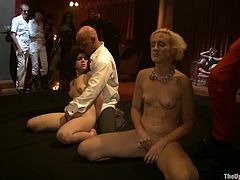 Chained blonde girl sucks big dicks and get pounded
