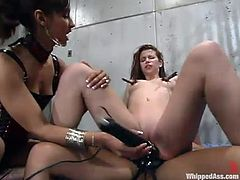This lusty babe Shy Love is detained in jail. Nina and her friend enter the cell to punish this kinky babe. The punishment was pleasant and painful at the same time!