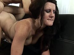 Horny milf gets fucked well and filled with cum all over her warm lips