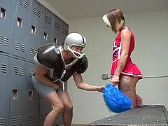 Hot cheerleader Ashton Pierce blows and gets fucked in the locker room