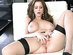 Emily Addison with giant boobs and trimmed cunt has a good time dildoing her pussy