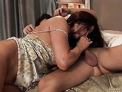 Magdalene St. Michaels turns Seth Gamble on and takes his sausage in her mouth