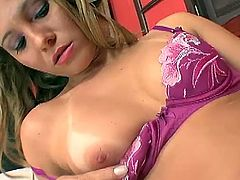Great solo performance by a luscious blond angel Laura Lemos! Honey got so much passion in her tight pussy and she is going to poke herself!
