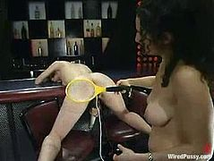 Nasty blonde chick gets tied up with straps and ropes. Later on she gets her ass toyed with an electric dildo and ass pussy with a vibrator at the same time.