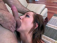 All ways horny tall muscled stud John Strong with strong arms seduces slutty short haired tee. She sucks his balls and long stiff pecker just to gets tight minge boned deep.