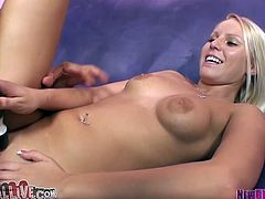 Blonde girl gets her smooth pussy licked and toyed with a vibrator. After that she takes big cock in her hot pussy.