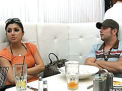 Senorita Sativa Rose has fire in her eyes while eating mans hard pole