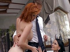Rocco Siffredi joins ass gaping lesbian orgy