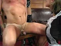 Poor guy gets tied up and tortured by Alex Divine, his kinky mistress. Then he also toys her pussy with a vibrator.