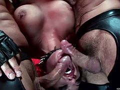 Two horny studs attacks mouth hole of one busty suspended brunette. They fucks her mouth hole without mercy. Enjoy watching BDSM harmony Vision sex tube video.