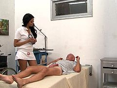 This sexy nurse has a patient, that is in need of some tender care. She gives him a blowjob and hopes, that this will make him feel better. She sucks his cock head, balls and his cock shaft. This is the best blowjob of his life and before long, feels much better.