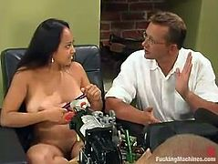 This slender and super naughty honey Loni is not afraid of that machine. She wants it double and sets up two dildos on it. Now the synthetic DP starts!