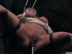 Hot brunette hristina Carter gets tied up and enjoys hot pussy fingering. Then the dude pokes a dildo into Christina's cunt and enjoys the way she moans in pleasure.