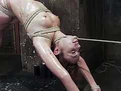 Some insanity of BDSM is here! Sexy slave Amber Rayne gets naked to be played by that BDSM master, who got some tools and some wax to torture her.
