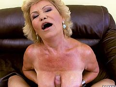 Watch this granny getting fucked really hard in her pussy from behind on her sofa by a large and fat cock of her friend in 21 Sextury sex clips.