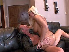 Tanned long haired blonde bombshell Diana Doll with big round bums and small sexy tattoo on lover back in stockings only gives head to tall neighbor and rides on his cannon.
