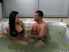 Press play on this hardcore video and watch this hot brunette being nailed by this guy after getting out of the jacuzzi.