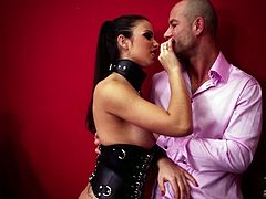 Seductive brunette mistress Mira punishes two well-endowed dudes