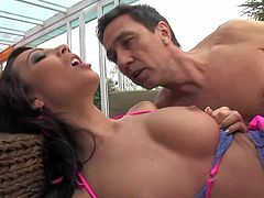 Abelia is a dark haired hot chick with shaved pussy. She demonstrates her pierced clit as she gets her tight pink hole drilled. Steve Holmes sticks his meat pole in her snatch over and over again.