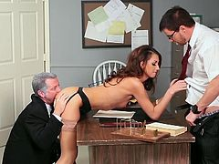 Sensual katie jordin gets banged by two dudes