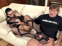 Cock jerking with legs is what makes that stud insane because his foot fetish and this sexy brunette slut is there to help him cum.