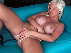 Chloe Dee with huge knockers and bald snatch cant live a day without dildoing her muff pie
