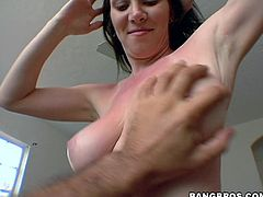 This juicy brunette honey Ray Veness just had got a sun tan and her skin is red. It burns, but her sexual passion overpowers the slight pain!