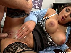 Lustful brunette bombshell with huge boobs is penetrated in her shaved pussy upskirt. The action takes place in the office. This is actually her first interview for the job. Is seems like she's gonna get the job.