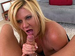 Impressive blonde milf amazes by how good she can deepthroat a cock in POV