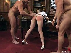 Lorelei Lee gets tied up and fucked by two guys in an office