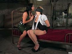 Sweet blonde Delilah Strong is having fun with lecherous brunette Sandra Romain in a prison ward. Sandra whips Delilah and then drills her vag with a strapon deep and hard.