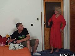 My Wifes Mom brings you a sexy free porn video where a busty blonde mature fucks with her son-in-law and gets her experienced cunt blasted deep and hard into kingdom come.