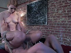 Check out this redhead, it's clear, that she loves being a mistress and enjoys every moment of punishing. Madison is one of those kinky cunts, that receive pleasure, from other people pain. This time is Danny's turn to be tortured by her and she rubs his dick, and ass fucks him, until he can't endure no more