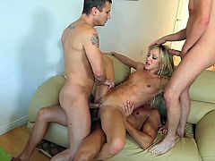 Petite cheep looking blonde slut Amy Brooke with small tits and slim body has rough double penetration on couch in gang bang with Marco Banderas, Mr Pete and Dane Cross.