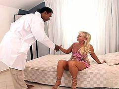 Watch this blondie babe in her bedroom sucking that large and fat black cock of her friend and swallow that semen of his in Fame Digital sex clips.