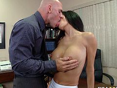 Seductive brunette woman is wearing provocative outfit looking sexy and dirty. She is seduced by her boss so she got down on her knees and started sucking his dick furiously.